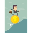 Business man running on a dollar coin vector image vector image