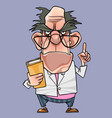 cartoon frowning and strict man professor vector image vector image