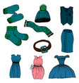 cartoon set of clothes vector image vector image