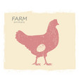 chicken hen silhouette vintage label vector image