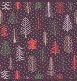 christmas tree seamless pattern repeat tile purple vector image vector image
