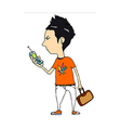 Close-up of boy holding mobile phone vector image vector image