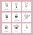 Cute hand drawn cactus cards set vector image vector image