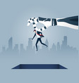 giant robotic arm holds a small businessman vector image vector image