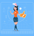 girl hold thumb up modern video blogger vlog vector image vector image
