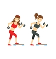 Girls Exercising With Dumbbells Member Of The vector image vector image