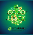 good luck patricks day neon sign vector image vector image