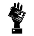 hand with id licence vector image vector image