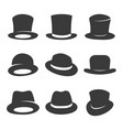 hipster and gentleman hat icon set vector image vector image
