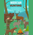 hunter with animals rifle and hunting dog vector image vector image
