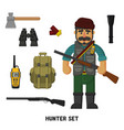 hunting a set of hunter items flat vector image vector image