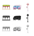 isolated object of train and station sign set of vector image