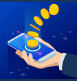 isometric cashback and saving money concept money vector image