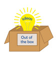 lightbulb out of the box ideas text concept of vector image