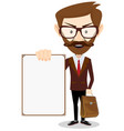 man holding a blank poster vector image