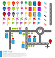 Map icons with buildings and Roads vector image vector image