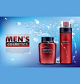 men cosmetics shaving foam after shave lotion vector image vector image