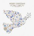 Merry christmas peace dove vintage holiday element vector image vector image