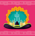 mexican hat day of the dead party vector image vector image