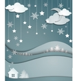 Night winter background snowflakes trees house