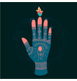 ornate hands with sacred symbols vector image