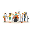 people recording tracks flat design vector image vector image