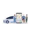 people using mobile app smartphone screen with gps vector image