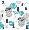 polar owl seamless pattern vector image