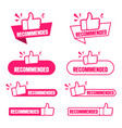 recommended banner set paper tag for recommend vector image