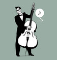 retro cartoon music double bass player playing vector image vector image