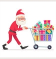 santa claus shopping cart purchase gift flat vector image