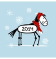 Santa horse sketch for your design Symbol of 2014 vector image
