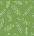 seamless leaves pattern hand drawn on green vector image vector image