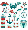 set of nautical design elements in flat style vector image vector image