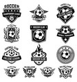 set of winged emblems with soccer ball design vector image vector image