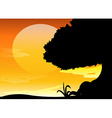 Silhouette scene at sunset vector image