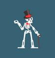 skeleton gentleman weaing top hat and bow tie vector image vector image