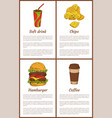 soft drink chips posters set vector image vector image