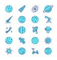 space icons set in colored line style vector image vector image