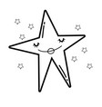 star smiling cartoon in black and white vector image