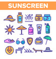 sunscreen uv defence thin line icons set vector image vector image