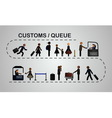 The queue of people at the passport control vector image vector image