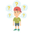 thinking caucasian with question marks vector image vector image