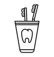 toothbrush in glass icon outline style vector image vector image