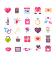 set of icons with hearts valentines day holiday vector image