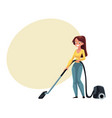 pretty young woman housewife cleaning house with vector image