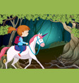 a girl riding unicorn at night vector image