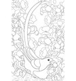 adult coloring bookpage a cute magpie with a vector image