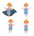 angel and cupid with gold halo and wings night sky vector image vector image