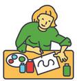 artist painter woman working vector image